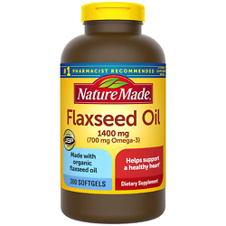 Nature Made Flaxseed Oil 1400 mg Softgels for Heart Health 300 ct free shipping $19.60