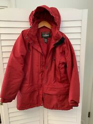 LLBean Women Medium Coat Parka Full Zip Snap Hood Washable Quilted Lining Poly $14.95