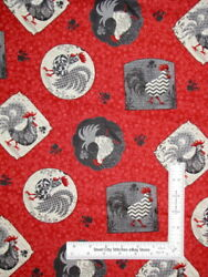 Kitchen Roosters Hen Chicken Red Cotton Fabric Poulets de Provence SPX 1.3 Yards $15.00