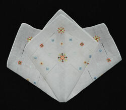 vintage handkerchief HANKY embroidery SHABBY HOME CHIC unused OPEN WORK hand rol $9.00