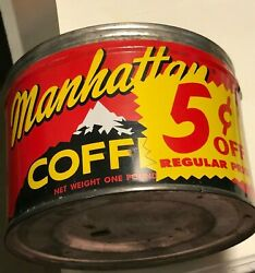 Manhattan Coffee Red And Black Alpine Scene Coffee Can No Lid $15.00