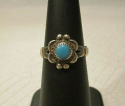 1960 Bell Trading Post Vintage Native American Turquoise Petit Point Flower Ring $24.50