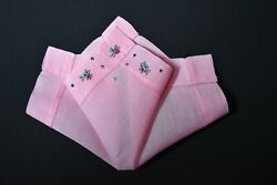 vintage handkerchief HANKY embroidered SHABBY HOME CHIC pink CHARMING dainty $9.99