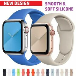Iphone Apple Watch Rubber Strap Sport Band iWatch 7 1 se soft silicone wrist $3.95