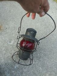 VINTAGE ARMSPEAR MFG. quot;1925quot; ERIE RAILROAD LANTERN W RED GLOBE FREE SHIPPING $139.99
