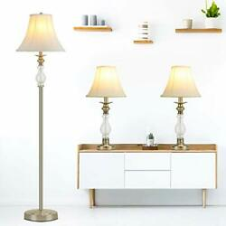 3 Pieces Modern Lamps Set Standing LED Light with Faux Silky Bell for Bedroom $132.46