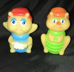 Vintage 1985 Hasbro Glo Friends Figures Glo in Dark Worms 2pc Finger Puppets $18.00