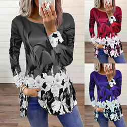 Women Casual Loose Long Sleeve T Shirt Ladies Floral Crew Neck Tunic Tops Blouse $15.52