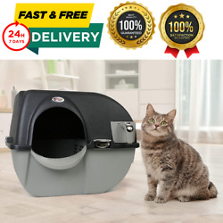 Elite Self Cleaning Cat Litter Box Large Easy Fill Roll and Clean for Pet Black $42.99