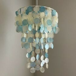 Pottery Barn Teen Capiz Chandelier Blue white excellent condition $75.00
