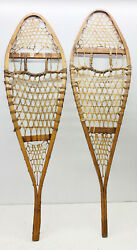 Antique Vintage 14quot; X 48quot; Snowshoes For Decor or Arts amp; Craft FREE SHIPPING $79.99