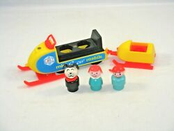 Fisher Price Vintage Little People Play Family Mini Snowmobile #705 Cleaned $39.95