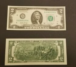1 Uncirculated Crisp 2017 A Series $2 Note Two Dollar Bill In Protective Sleeve $3.99