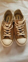 Converse all star women low top sneaker size 9 leather faux fur brown. $29.99