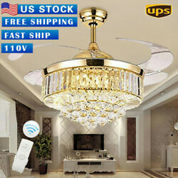 42quot;Rose Gold Ceiling Fan LED Invisable Lamp Crystal Lighting Remote Chandelier⭐⭐ $125.99