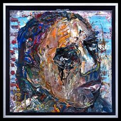 FRAMED ORIGINAL OIL PAINTING LARGE█ART█POP█COOL FOLK ABSTRACT A FRAME INCLUDED $340.00