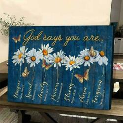 God Says You Are Poster Daisy Wall Art Butterfly Wall Art Living Room Art Print $24.95