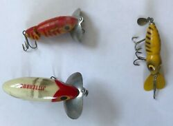 Lot of 3 FISHING LURES 2 FRED ARBOGAST JITTERBUGS plus Another Nice $9.99