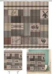 Farmhouse Shower Curtain Rustic Country Farm Animal Poultry Windmill Chic $22.60