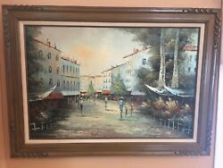large old oil painting 43x32in. inherited can#x27;t decipher signature min.50yr old $95.00