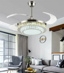 42quot; Remote Invisible Ceiling Fans w Retractable Blades Crystal Chandelier Lights $180.89