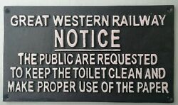 GREAT WESTERN RAILWAY NOTICE: TOILET CAST IRON WALL SIGN. New. GBP 20.00