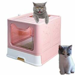Cat Litter Box Large Litter Pan for Cats Foldable Litter Boxes Comes with Pink $85.72