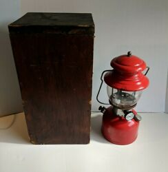 Vintage Red Coleman Lantern #200A Dated 5 1957 2 Patent ##x27;s. W Box. Pyrex Glass $110.00