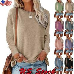 Women Long Sleeve T Shirt Ladies Casual Crew Neck Loose Pullover Tops Blouse Tee $16.00