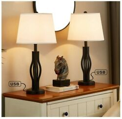 USB Table Lamps for Living Room Set of 2 Seealle 25 Inches White Bedroom Lamps $99.89
