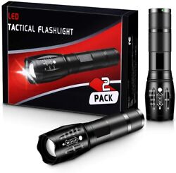 LED Tactical Flashlights Camping Accessories 2 Pack High Lumen Zoomable $12.99