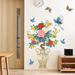 Magpie Peony Vase wall stickers Livingroom Sofa Background Art Decal Large Decor $14.99