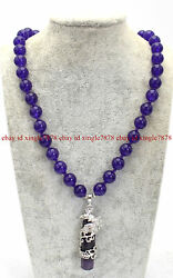 Pretty 10mm Purple Amethyst Round Gemstone Cylindrical Pendant Necklace 20quot; AAA $7.99