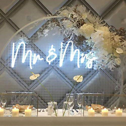 Mramp;MRS Neon Sign for Wall Bedroom HomeDecorCool White Neon Sign for Party 50 $166.02