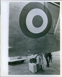 1966 Large Plane With Target Painted On Car Luggage People Planes Photo 8X10 $18.88