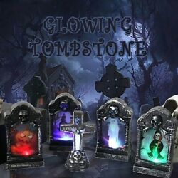 Halloween Tombstone Lights Glowing LED Home Gardens Party Decor Retro Simulation