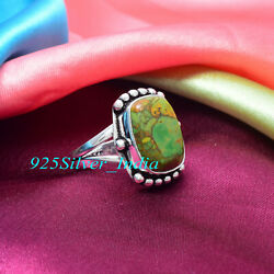 Halloween Green Copper Turquoise 925 Sterling Silver Handmade Ring All Size $12.34