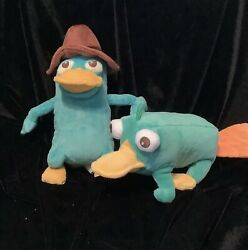 """Disney Store VTG Phineas amp; Ferb Perry Platypus And Agent P 8"""" Plush Toys $19.99"""