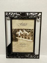 Fetco Home Decor Flowers Metal Picture Frame 8quot; Tall Fits photo 4quot; × 6quot; $12.50