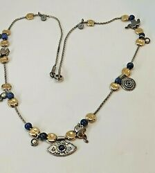 STERLING SILVER NECKLACE CONTEMPORARY WITH LAPIZ STONES amp; GOLD BEADS amp; ELEPHANTS $160.00