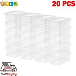 20 Pack Shoe Storage Boxes Plastic Bin with Lid Stackable Design Container Clear $35.99