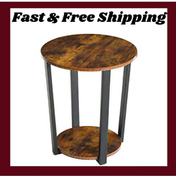 Round End Table 2 Tier Side Table Vintage Nightstand with Storage Shelf Living $66.95
