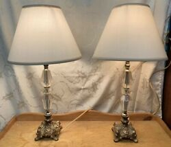 Vintage Brass And Clear Lucite Electric Table Lamps Pair $109.99