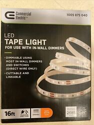 Commercial Electric 16ft Led White Tape Light Soft White Plug In or Direct Wire