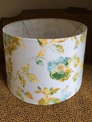 Beige Fabric Drum Large Table Lamp Shade Blue and Yellow Gold Flowers Floral $40.00