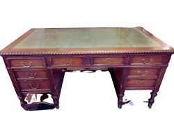 Antique Desk Leather Top Mahogany Hobbs amp; CO Lawyers Desk Carved Early 1900s $1995.00