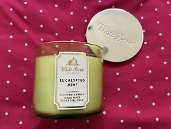 3 wick scented candle white barn eucalyptus mint lidded 14.5 oz $24.90