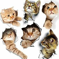 6PCS 3D Wall Stickers Cats Adhesive Kids Wall Decals Removable Vinyl Murals $8.99