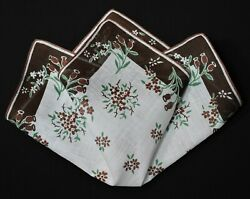 vintage handkerchief FLOWER PRINT scent to carry SHABBY HOME CHIC hand rolled $9.00