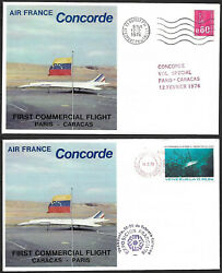 France 1976 First Concorde Commercial Service to Caracas amp; return 2 covers